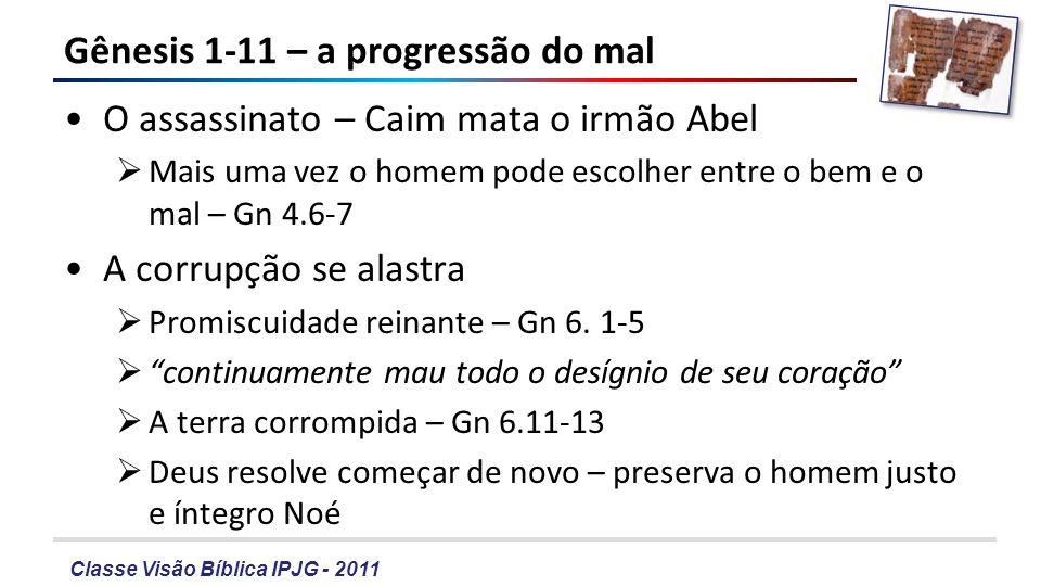 Classe Visão Bíblica IPJG - 2011 Gênesis 1-11 – a progressão do mal O assassinato – Caim mata o irmão Abel Mais uma vez o homem pode escolher entre o