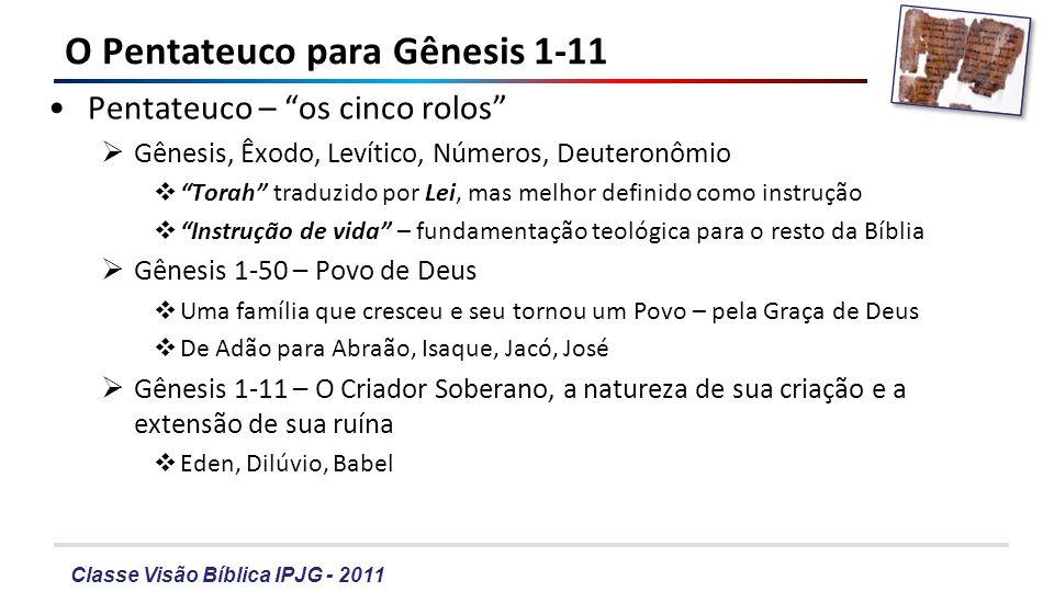 Classe Visão Bíblica IPJG - 2011 O Pentateuco para Gênesis 1-11 Pentateuco – os cinco rolos Gênesis, Êxodo, Levítico, Números, Deuteronômio Torah trad
