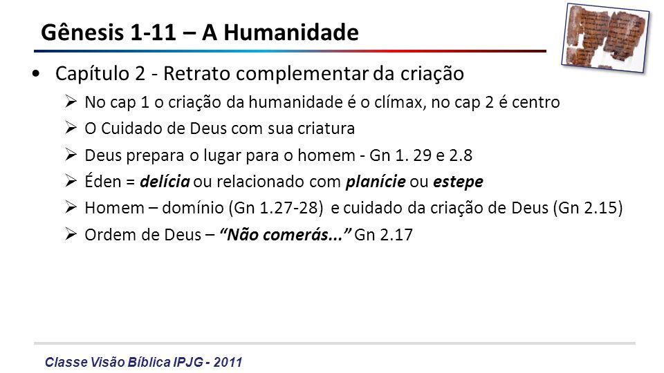 Classe Visão Bíblica IPJG - 2011 Gênesis 1-11 – A Humanidade Capítulo 2 - Retrato complementar da criação No cap 1 o criação da humanidade é o clímax,