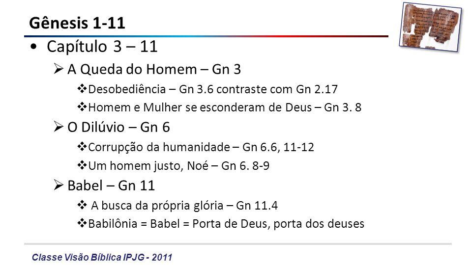 Classe Visão Bíblica IPJG - 2011 Gênesis 1-11 – A queda Por que o Homem-Mulher desobedeceram a Deus.