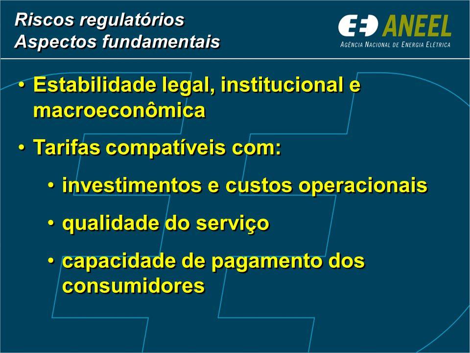 Estabilidade legal, institucional e macroeconômica Tarifas compatíveis com: investimentos e custos operacionais qualidade do serviço capacidade de pag
