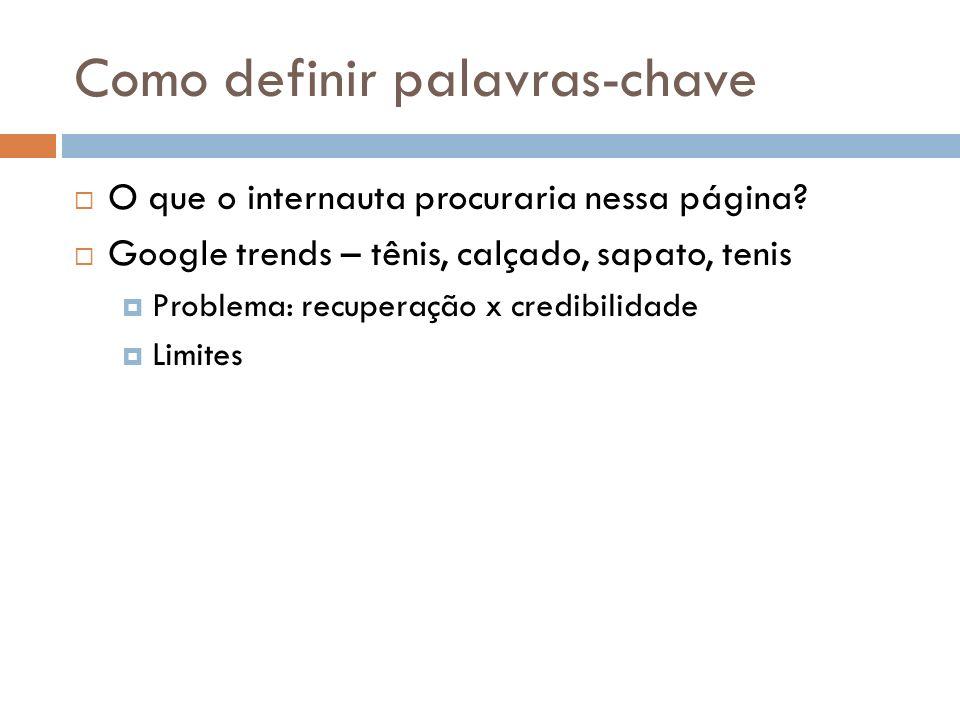 Como definir palavras-chave O que o internauta procuraria nessa página? Google trends – tênis, calçado, sapato, tenis Problema: recuperação x credibil