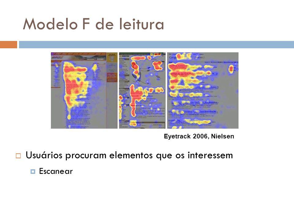 Modelo F de leitura Usuários procuram elementos que os interessem Escanear Eyetrack 2006, Nielsen