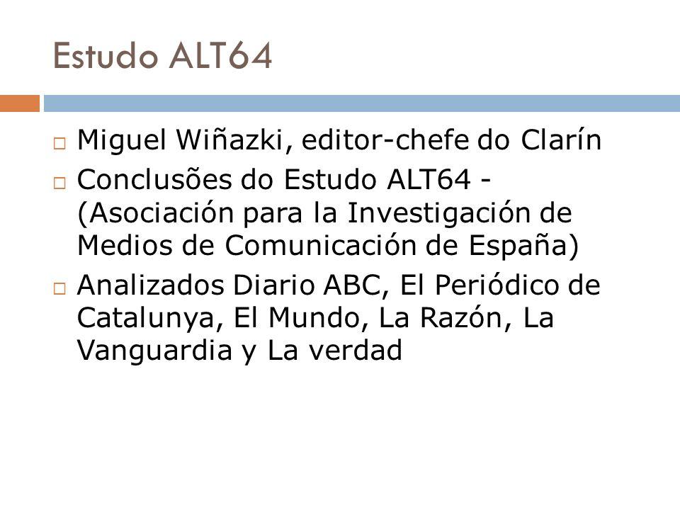 Estudo ALT64 Miguel Wiñazki, editor-chefe do Clarín Conclusões do Estudo ALT64 - (Asociación para la Investigación de Medios de Comunicación de España