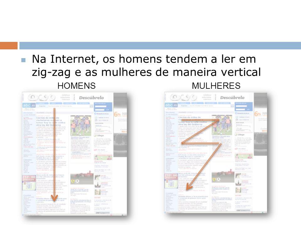 Na Internet, os homens tendem a ler em zig-zag e as mulheres de maneira vertical HOMENS MULHERES