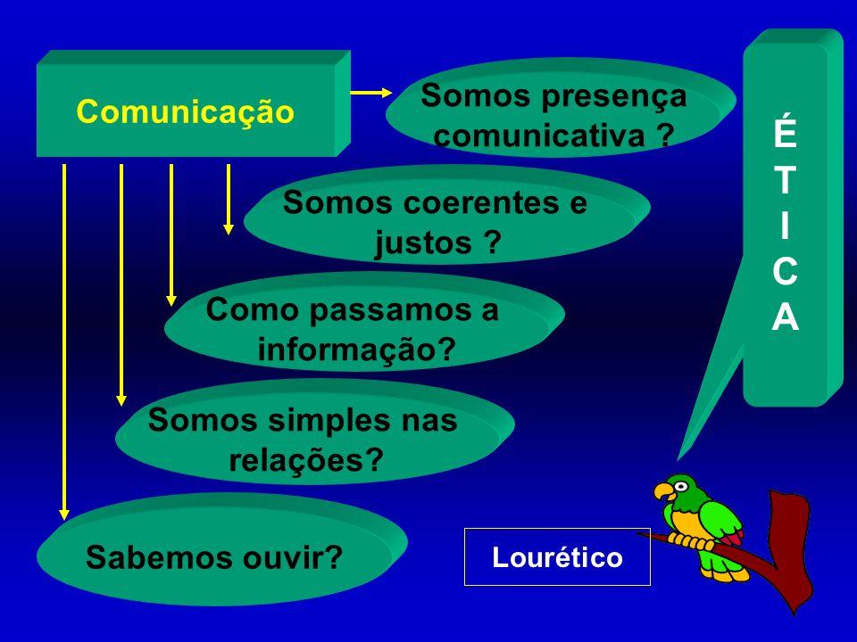 Comunicação Sabemos ouvir? Somos simples nas relações? Como passamos a informação? Somos coerentes e justos ? Somos presença comunicativa ? Lourético