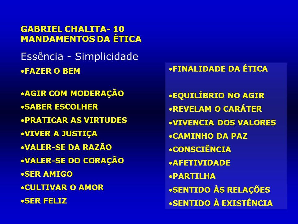 GABRIEL CHALITA- 10 MANDAMENTOS DA ÉTICA Essência - Simplicidade FAZER O BEM AGIR COM MODERAÇÃO SABER ESCOLHER PRATICAR AS VIRTUDES VIVER A JUSTIÇA VA