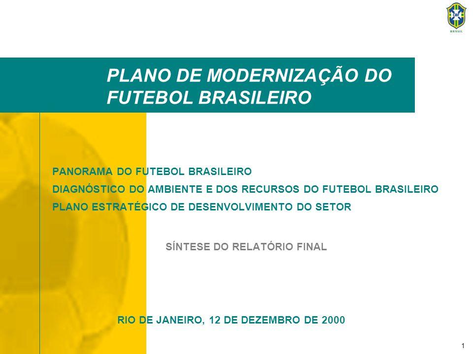 1 PANORAMA DO FUTEBOL BRASILEIRO DIAGNÓSTICO DO AMBIENTE E DOS RECURSOS DO FUTEBOL BRASILEIRO PLANO ESTRATÉGICO DE DESENVOLVIMENTO DO SETOR SÍNTESE DO
