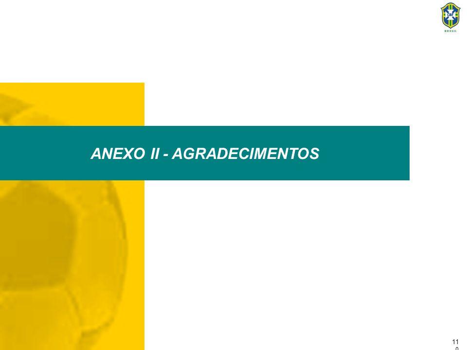 11 1 Anexo II - Agradecimentos A Confederação Brasileira de Futebol gostaria de agradecer a Fundação Getulio Vargas pelo apoio técnico prestado ao longo destes 8 meses, a Federação Internacional do Futebol - FIFA e a todos aqueles que fizeram possível a elaboração deste projeto, fornecendo informações e sugestões que engrandeceram o Programa de Modernização do Futebol Brasileiro.
