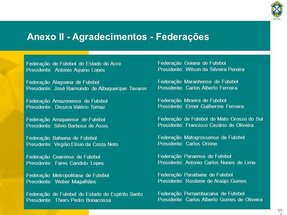 11 2 Anexo II - Agradecimentos - Federações Federação de Futebol do Estado do Acre Presidente:Antonio Aquino Lopes Federação Alagoana de Futebol Presi