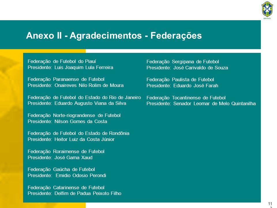 11 3 Anexo II - Agradecimentos - Federações Federação de Futebol do Piauí Presidente: Luis Joaquim Lula Ferreira Federação Paranaense de Futebol Presi