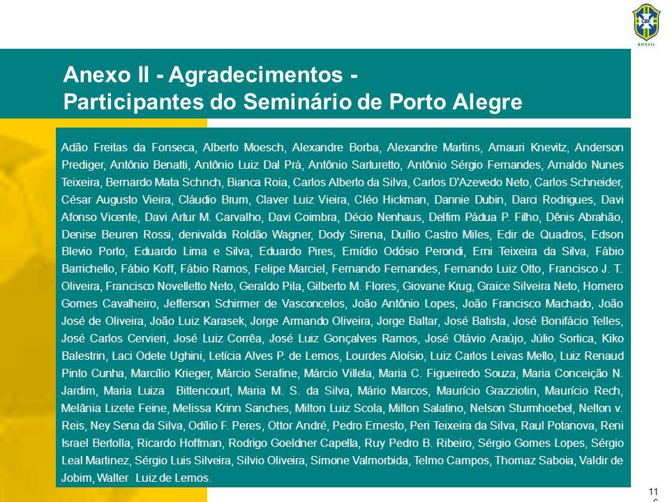 11 6 Anexo II - Agradecimentos - Participantes do Seminário de Porto Alegre Adão Freitas da Fonseca, Alberto Moesch, Alexandre Borba, Alexandre Martin