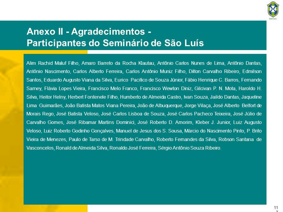 11 7 Anexo II - Agradecimentos - Participantes do Seminário de São Luís Alim Rachid Maluf Filho, Amaro Barreto da Rocha Klautau, Antônio Carlos Nunes