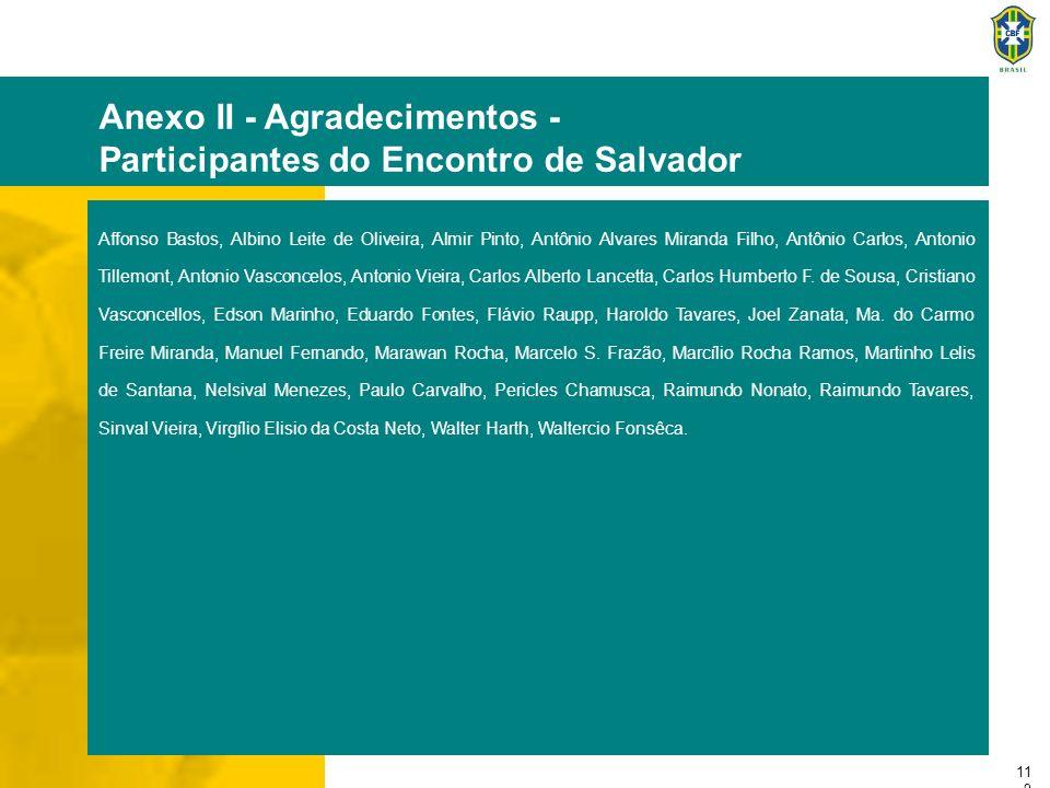 11 9 Anexo II - Agradecimentos - Participantes do Encontro de Salvador Affonso Bastos, Albino Leite de Oliveira, Almir Pinto, Antônio Alvares Miranda