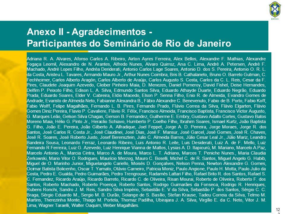 12 2 Anexo II - Agradecimentos - Participantes do Seminário de Rio de Janeiro Adriana R. A. Alvares, Afonso Carlos A. Ribeiro, Airton Ayres Ferreira,