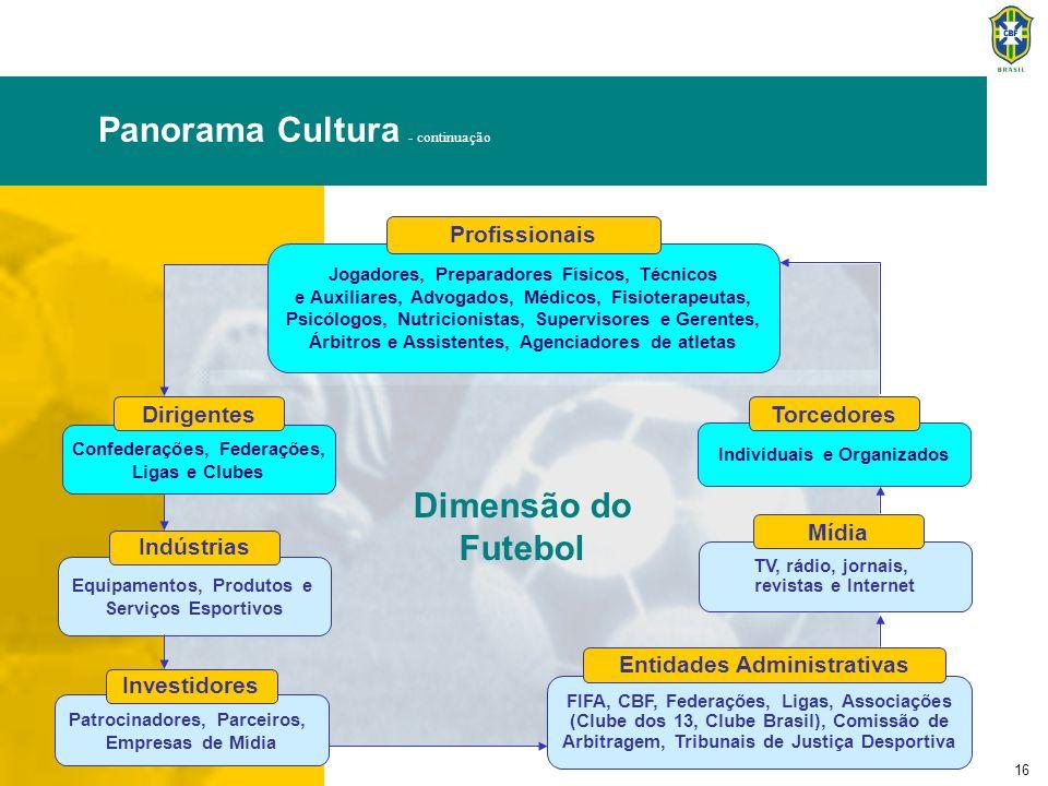 16 Panorama Cultura - continuação Dimensão do Futebol Jogadores, Preparadores Físicos, Técnicos e Auxiliares, Advogados, Médicos, Fisioterapeutas, Psi