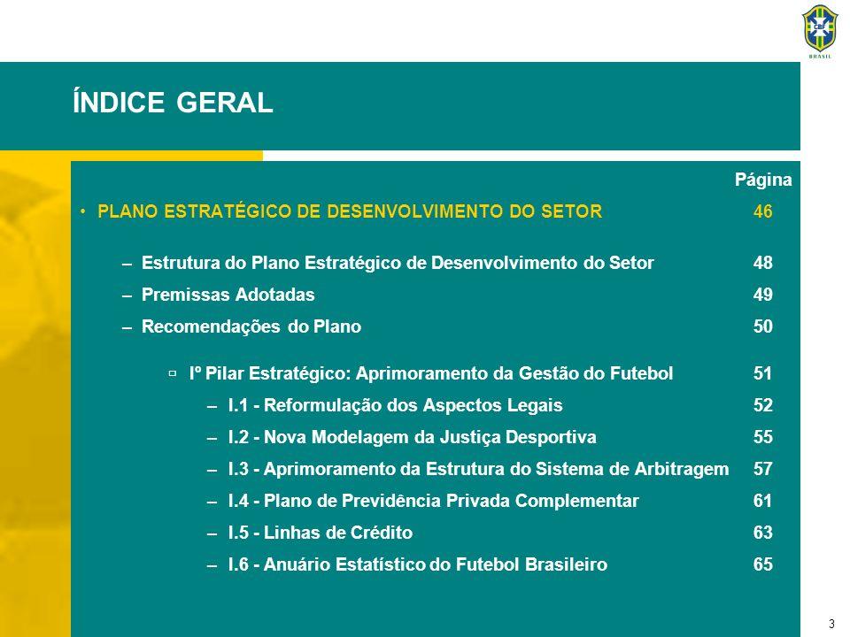 4 ÍNDICE GERAL Página IIº Pilar Estratégico: Modernização do Sistema CBF67 –II.1 - Modernização Organizacional da CBF: Um Modelo 68 para as Federações Estaduais –II.2 - Modernização do Sistema Nacional de Registro de 71 Jogadores –II.3 - Programa de Apoio à Modernização dos Clubes 72 de Futebol –II.4 - Planejamento Estratégico da CBF73 –II.5 - Recuperação e Manutenção da Memória do Futebol75 –II.6 - Programa de Capacitação Profissional na CBF76