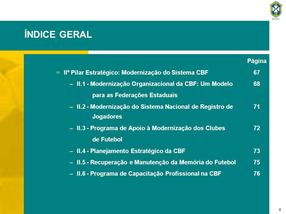 5 ÍNDICE GERAL Página IIIº Pilar Estratégico: Intensificação da Atratividade do Futebol Brasileiro 77 –III.1 - Plano de Manutenção do Craque no Brasil 78 –III.2 - Ranking Nacional do Futebol Brasileiro 80 –III.3 - Racionalização do Calendário Nacional 82 –III.4 - Plano de Incentivo à Ida aos Estádios100 –III.5 - Plano de Reconhecimento e Valorização do Torcedor102 –III.6 - Programa Nacional de Capacitação dos 104 Profissionais do Futebol –Plano de Ação105 ANEXO I: COORDENAÇÃO CBF108 ANEXO II: AGRADECIMENTOS110 ANEXO III: FICHA TÉCNICA123