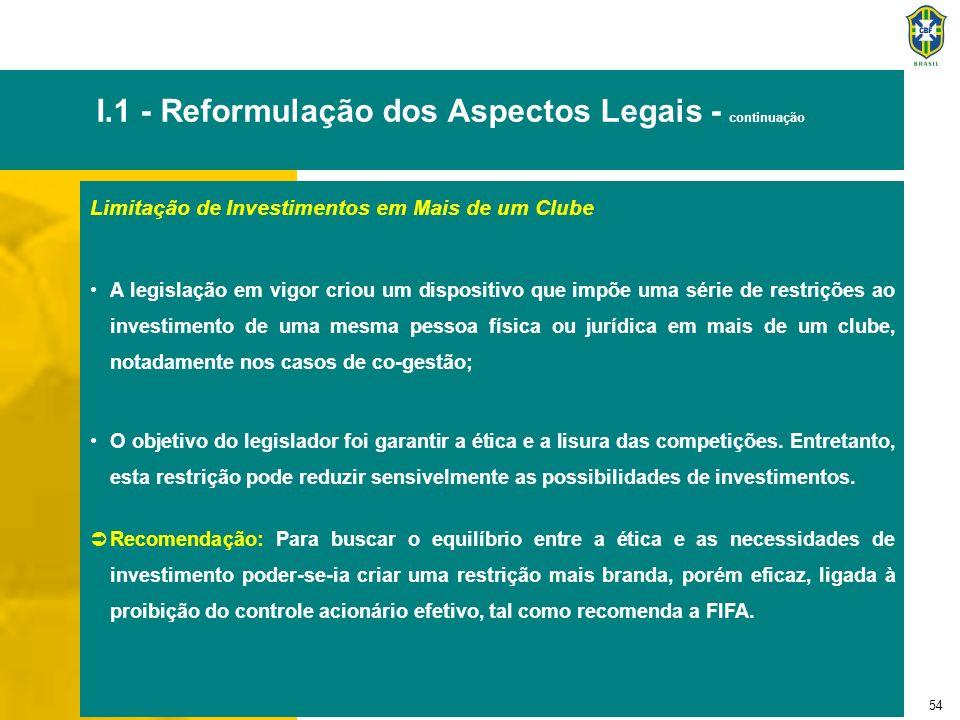 54 I.1 - Reformulação dos Aspectos Legais - continuação Limitação de Investimentos em Mais de um Clube A legislação em vigor criou um dispositivo que