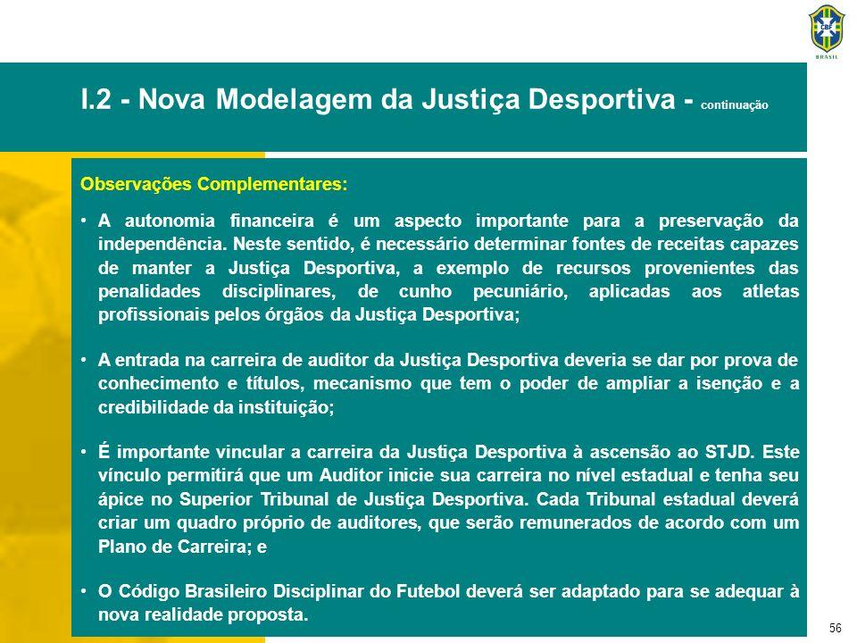 56 I.2 - Nova Modelagem da Justiça Desportiva - continuação Observações Complementares: A autonomia financeira é um aspecto importante para a preserva