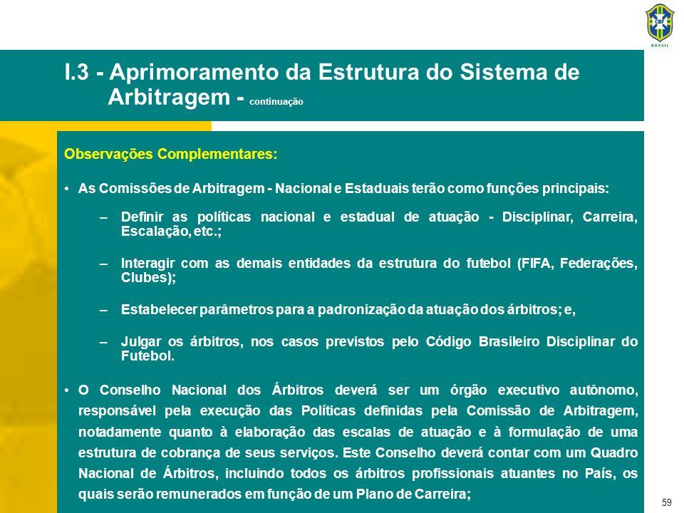 60 I.3 - Aprimoramento da Estrutura do Sistema de Arbitragem - continuação Os Conselhos Estaduais de Árbitros deverão ser os órgãos executivos estaduais, detendo as mesmas funções do Conselho Nacional.