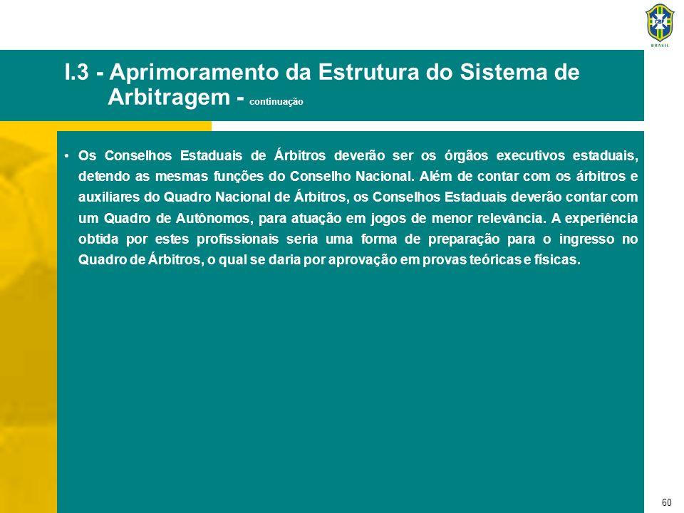 60 I.3 - Aprimoramento da Estrutura do Sistema de Arbitragem - continuação Os Conselhos Estaduais de Árbitros deverão ser os órgãos executivos estadua