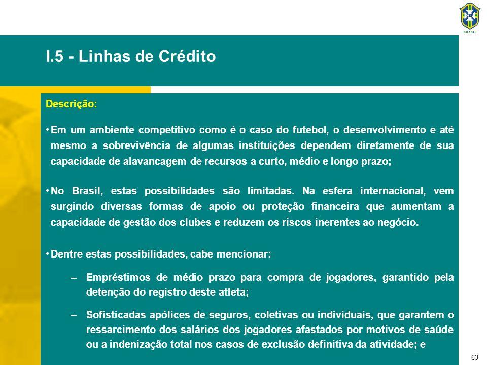 63 I.5 - Linhas de Crédito Descrição: Em um ambiente competitivo como é o caso do futebol, o desenvolvimento e até mesmo a sobrevivência de algumas in