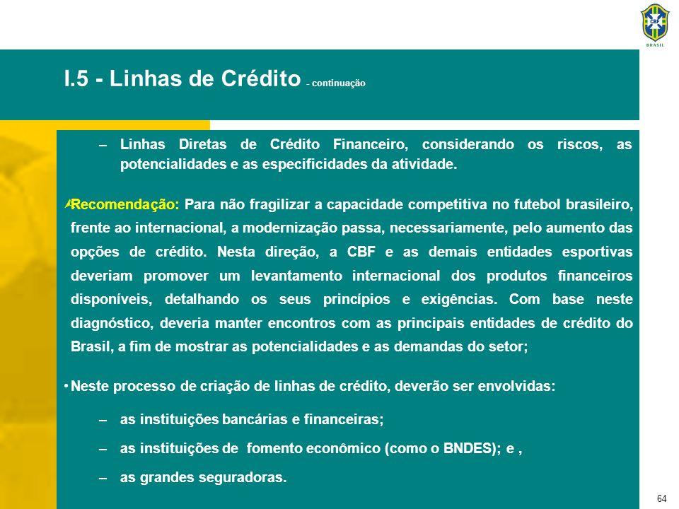 64 –Linhas Diretas de Crédito Financeiro, considerando os riscos, as potencialidades e as especificidades da atividade. ÙRecomendação: Para não fragil