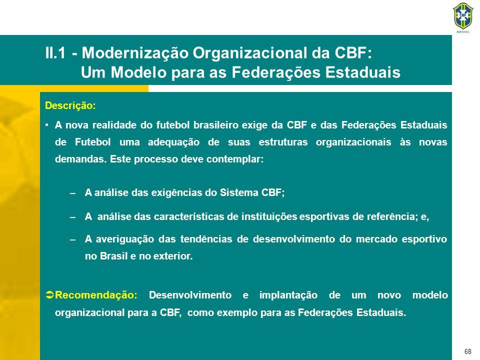 68 II.1 - Modernização Organizacional da CBF: Um Modelo para as Federações Estaduais Descrição: A nova realidade do futebol brasileiro exige da CBF e
