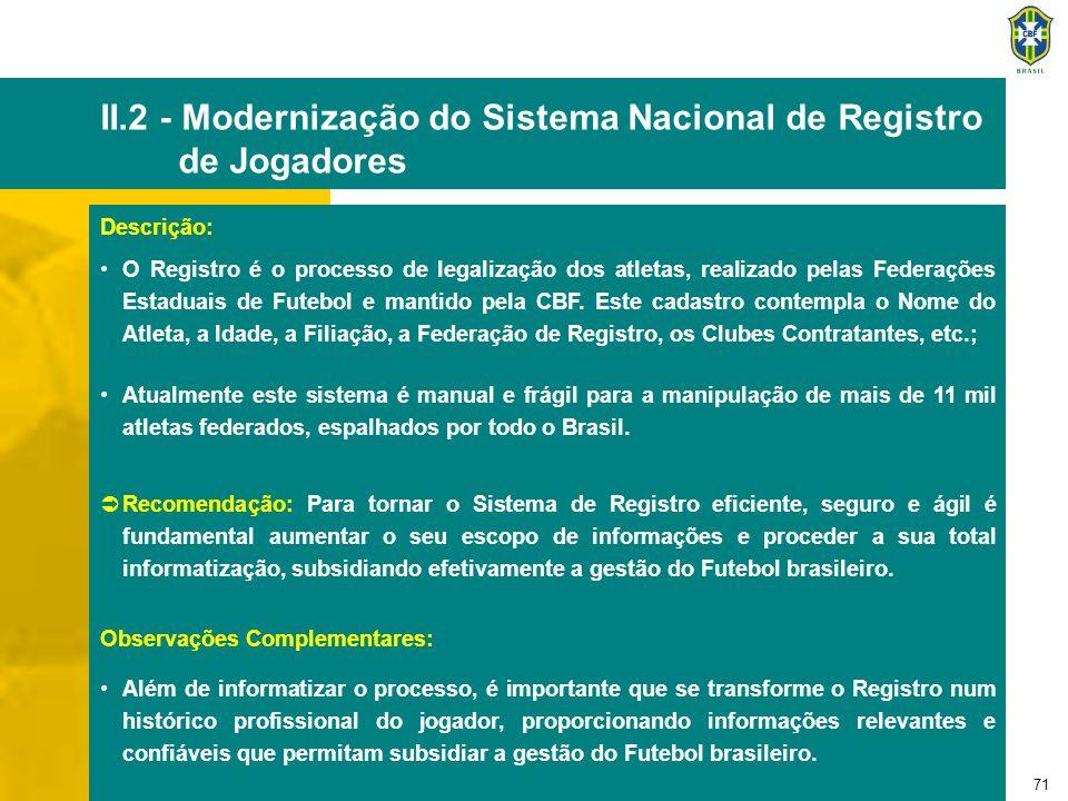 72 II.3 - Programa de Apoio à Modernização dos Clubes de Futebol Descrição: O processo de transformação que passa o Futebol mundial se reflete na necessidade de modernização do processo de gestão do Futebol brasileiro.