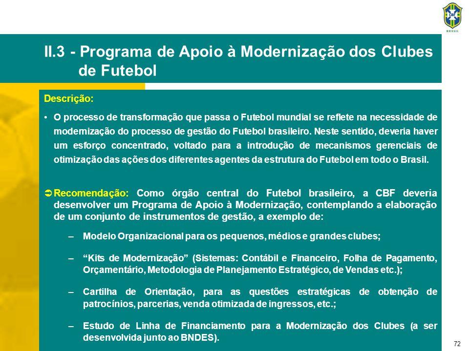 72 II.3 - Programa de Apoio à Modernização dos Clubes de Futebol Descrição: O processo de transformação que passa o Futebol mundial se reflete na nece