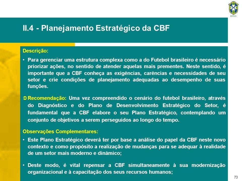 74 II.4 - Planejamento Estratégico da CBF - continuação O Plano Estratégico da CBF deverá ser, portanto, o produto de um processo participativo de reflexão, envolvendo os seguintes pontos: »Através do Estudo de Pontos Fortes e Fracos, observando as análises do ambiente mapeada pelo Diagnóstico, bem como a revisão do Papel da CBF na estrutura do Futebol brasileiro e a reavaliação do seu Negócio, da sua Missão e da sua Visão; »Contemplando a definição dos objetivos no curto, médio e longo prazo.