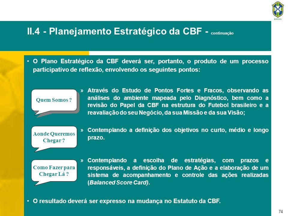 74 II.4 - Planejamento Estratégico da CBF - continuação O Plano Estratégico da CBF deverá ser, portanto, o produto de um processo participativo de ref