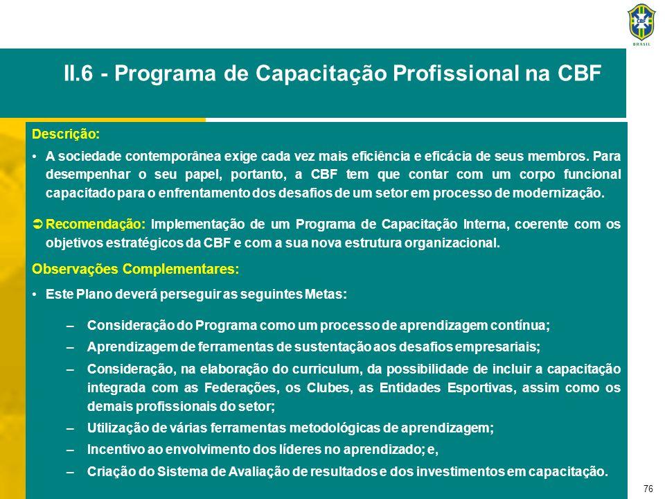 76 II.6 - Programa de Capacitação Profissional na CBF Descrição: A sociedade contemporânea exige cada vez mais eficiência e eficácia de seus membros.