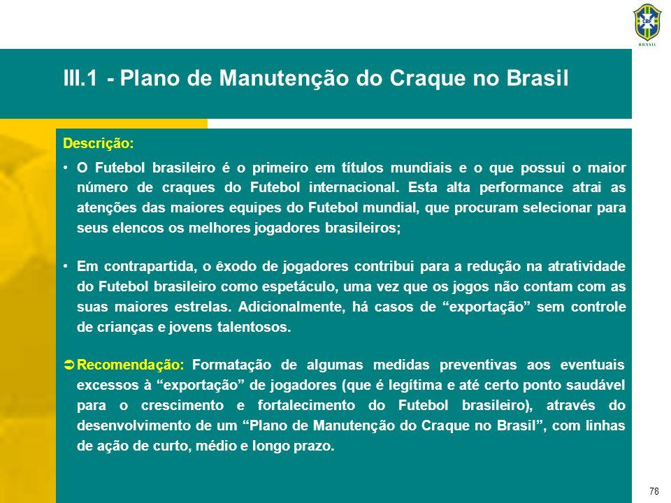 78 III.1 - Plano de Manutenção do Craque no Brasil Descrição: O Futebol brasileiro é o primeiro em títulos mundiais e o que possui o maior número de c