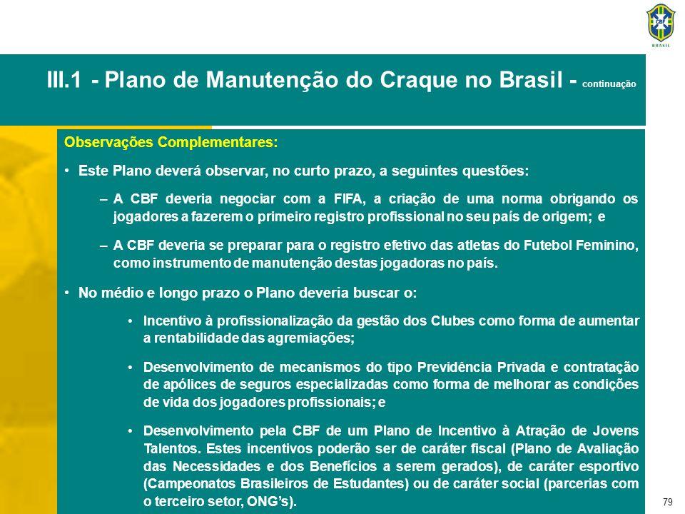 79 III.1 - Plano de Manutenção do Craque no Brasil - continuação Observações Complementares: Este Plano deverá observar, no curto prazo, a seguintes q