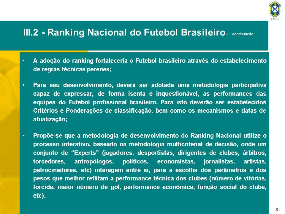 81 III.2 - Ranking Nacional do Futebol Brasileiro - continuação A adoção do ranking fortaleceria o Futebol brasileiro através do estabelecimento de re