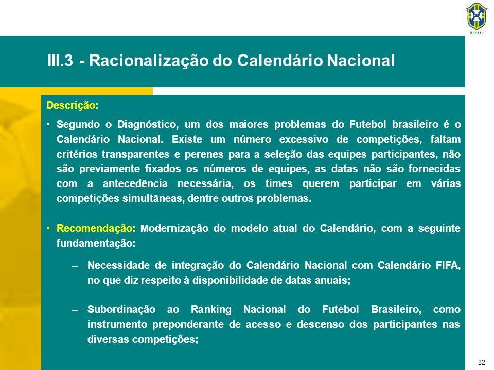 82 III.3 - Racionalização do Calendário Nacional Descrição: Segundo o Diagnóstico, um dos maiores problemas do Futebol brasileiro é o Calendário Nacio