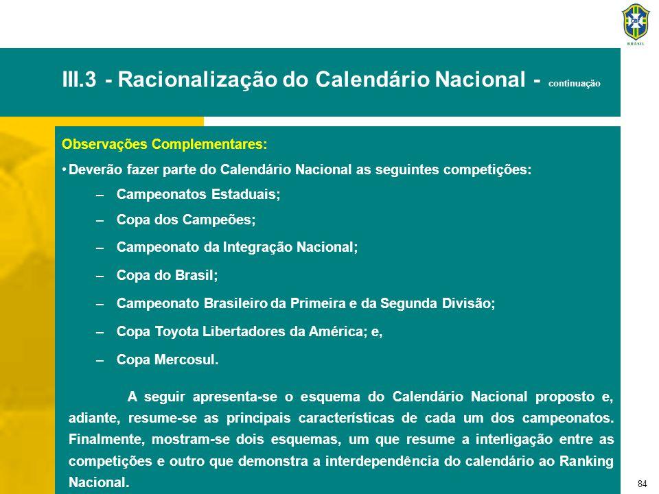 84 III.3 - Racionalização do Calendário Nacional - continuação Observações Complementares: Deverão fazer parte do Calendário Nacional as seguintes com