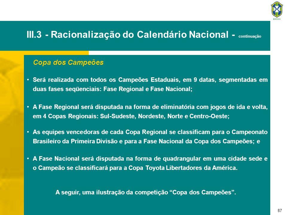 87 III.3 - Racionalização do Calendário Nacional - continuação Copa dos Campeões Será realizada com todos os Campeões Estaduais, em 9 datas, segmentad