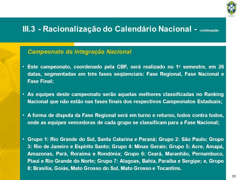 90 III.3 - Racionalização do Calendário Nacional - continuação Campeonato da Integração Nacional - continuação A Fase Nacional será disputada em dois grupos de quatro equipes cada um, em turno e returno; Na Fase Final, as equipes vencedoras de cada grupo da Fase Nacional disputam em duas partidas; As quatro primeiras equipes da Fase Nacional estarão classificadas para o Campeonato Brasileiro da Segunda Divisão.