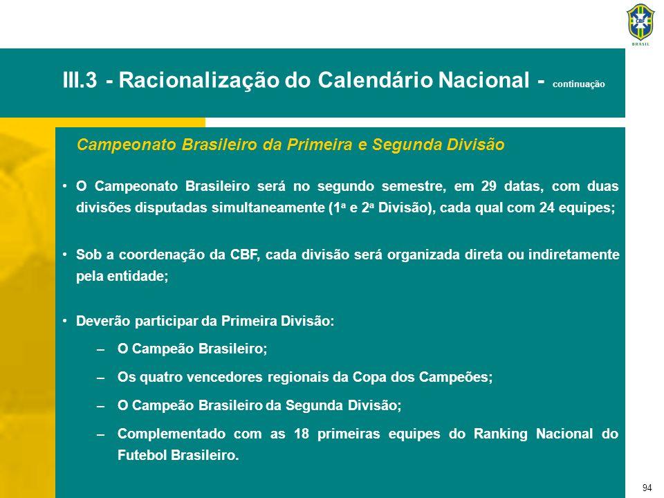 94 III.3 - Racionalização do Calendário Nacional - continuação Campeonato Brasileiro da Primeira e Segunda Divisão O Campeonato Brasileiro será no seg