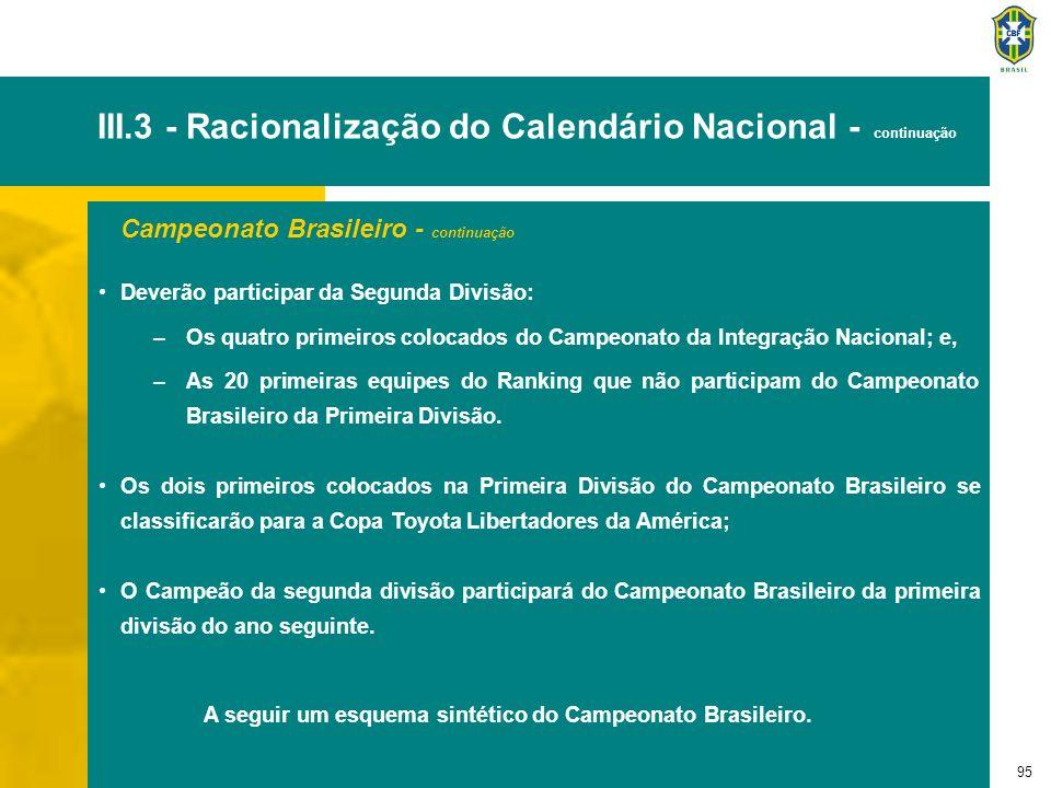 95 III.3 - Racionalização do Calendário Nacional - continuação Campeonato Brasileiro - continuação Deverão participar da Segunda Divisão: –Os quatro p
