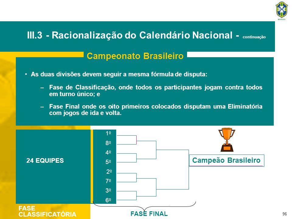 96 As duas divisões devem seguir a mesma fórmula de disputa: –Fase de Classificação, onde todos os participantes jogam contra todos em turno único; e