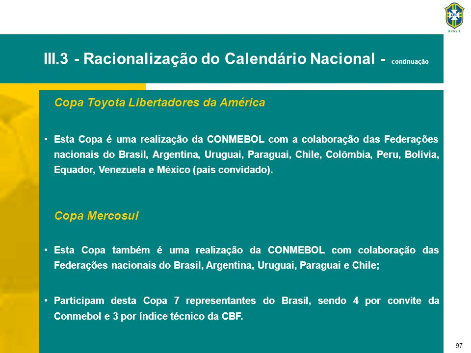 97 III.3 - Racionalização do Calendário Nacional - continuação Copa Toyota Libertadores da América Esta Copa é uma realização da CONMEBOL com a colabo