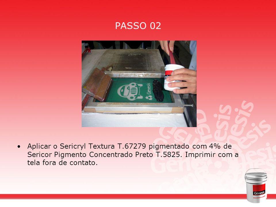 PASSO 02 Aplicar o Sericryl Textura T.67279 pigmentado com 4% de Sericor Pigmento Concentrado Preto T.5825. Imprimir com a tela fora de contato.