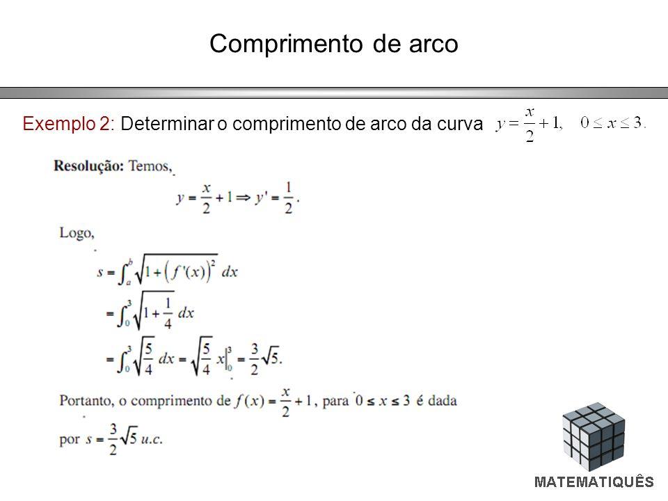 Exemplo 2: Determinar o comprimento de arco da curva
