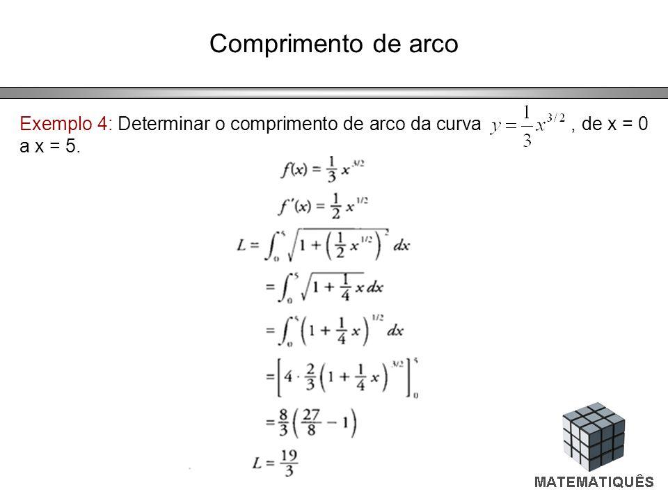 Comprimento de arco Exemplo 4: Determinar o comprimento de arco da curva, de x = 0 a x = 5.