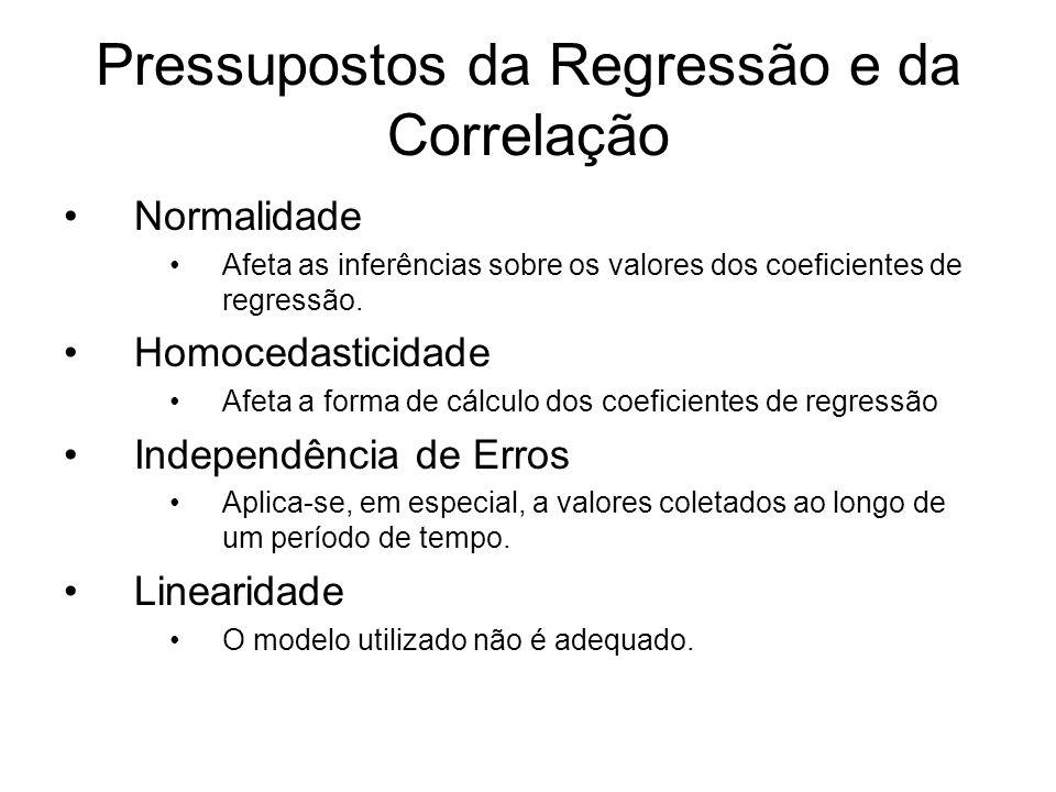 Pressupostos da Regressão e da Correlação Normalidade Afeta as inferências sobre os valores dos coeficientes de regressão. Homocedasticidade Afeta a f
