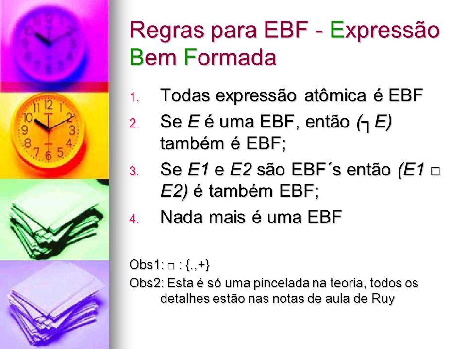 Solução As regras de validação EBF são tão poderosas que vamos usá- las de fora para dentro As regras de validação EBF são tão poderosas que vamos usá- las de fora para dentro Usaremos recursão para: Usaremos recursão para: Dada uma expressão φ qualquer, identificaremos suas sub-expressões (se existirem), validando recursivamente Dada uma expressão φ qualquer, identificaremos suas sub-expressões (se existirem), validando recursivamente